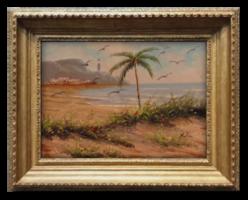 Kókuszpálma a tengerparton - Extra szép olajfestmény Nyugat-Európából a 80-as évekből