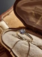 Sárga arany briliáns gyűrű tanzanit kővel 0,20ct.  14Kt.