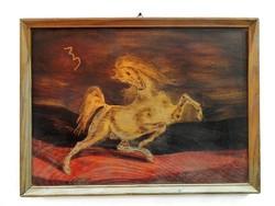 Retro / mid century lovas motívumos fa táblakép