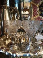 Ólomkristály 5 db-os likőros pohár. Kézi csiszolás. Ezüst talpú. Dianas l. 1900-as évek.