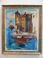 Mediterrán hangulatú retro festmény ( 1975)