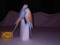 Hollóházi papagájok - nipp, figura - kék, sárga