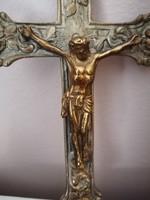 Régi falra akasztható gyönyörű feszület kereszt Jézus Krisztussal. (réz ötvözet)