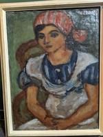 Czóbel Béla -  Piros kendős lány, 1934