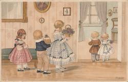 Antik képeslap, köszöntés, gyermek jelenet