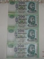 200 Ft-os papírpénz ( 2007-es, 4 db.)