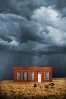 Moira Risen: A vihar szeme Kortárs szignált fine art nyomat Argentína szecessziós ház pampák puszta