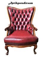 A174 Gyönyörű chesterfield neobarokk antik bőr fotel