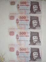 500 Ft-os papírpénz ( 2013-es, 4 db.)