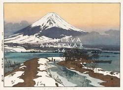 Régi japán fametszet Fudzsi havas hegy tájkép tópart tavasz hóolvadás Kitűnő minőségű reprint nyomat