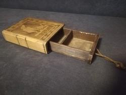 1948-Weigl József féle intarziás fa könyv titok doboz