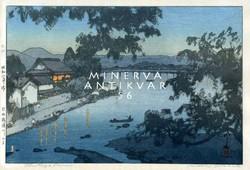 Régi japán fametszet alkonyat falu tájkép kikötő esti fények házak Kitűnő minőségű reprint nyomat