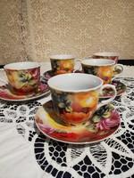 Eladó régi porcelán orosz virág mintás teás duók 5 szett!