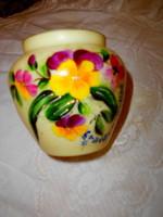 Antik  kézzel festett  üveg váza