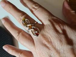 5 borostyán köves 925 ezüst gyűrű