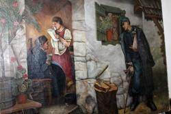 Antik szignált világháborús katona festmény 381