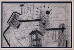 Topor András (1944-1997): Komor táj, 1967 - egyedi grafika