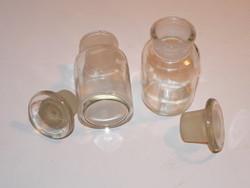 2 db antik orvosságos patikaüveg (laborüveg) csiszolt dugóval olcsón eladó