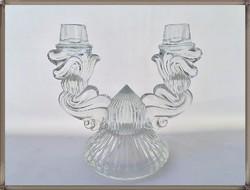 Szép kétágú Art Deco csehszlovák Bohemia Glass üveg gyertyatartó