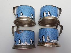 Retro tűzzománcos pohártartó pingvines régi orosz design alpakka teás kellék 4 db