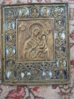 Antik orosz bronz ikon istenanya szentekkel