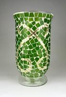 1D266 Üvegmozaikkal díszített nagyméretű öblös zöld üveg váza díszváza 25 cm