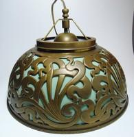 Antik áttört réz tejüveg lámpabura