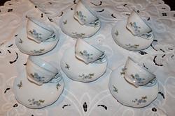 Zsolnay kék barackvirágos teáscsészék+ alj 6 db