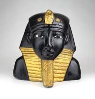 1D265 Tutanhamon egyiptomi fáraó fekete-arany halotti maszk szobor 15.5 cm