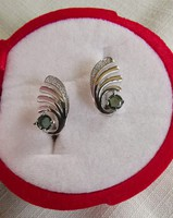 Gyönyörű ritka, zöld természetes zafír    925 ezüst fülbevaló