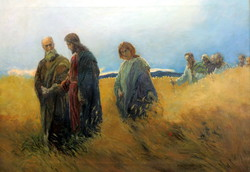 KRISZTUS ÉS KÖVETŐI ! OLAJ VÁSZON FESTMÉNY ... XX. SZ ELSŐ FELE !
