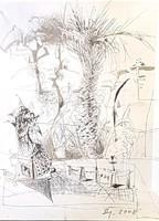 Dienes Gábor - 31 x 23 cm tus, ceruza,, papír 2008, keretezve
