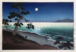 Régi japán fametszet éjszaka tengerpart látkép telihold hullám fenyő Kitűnő minőségű reprint nyomat