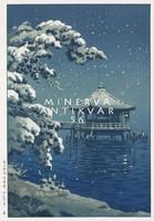 Régi japán fametszet tél tájkép hóesés havas fenyő pagoda tópart stég Kitűnő minőségű reprint nyomat