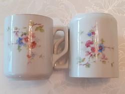 Régi 2 db Zsolnay porcelán bögre cseresznyevirágos népi virágos teás csésze