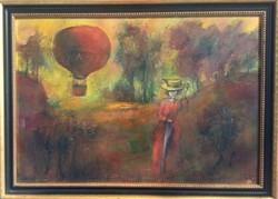 Tóth Ernő - Romantikus táj 70 x 100 cm olaj, farost, keretezve