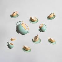 Román retro porcelán kávéskészlet - mokkás, eszpresszós szett - Faianta Sighisoara Segesvár
