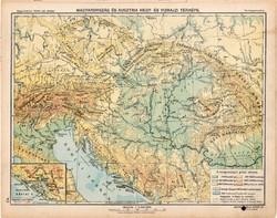 Osztrák - Magyar Monarchia hegy- és vízrajzi térkép 1913, eredeti, Magyarország, iskolai atlasz