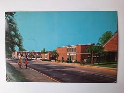 Retro levelezőlap, képeslap, Florida, egyetemi campus, 1971
