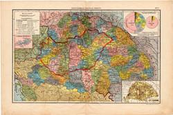 Magyarország politikai térkép, kb. 1940, eredeti, Magyarország, iskolai atlasz, vármegye, megye