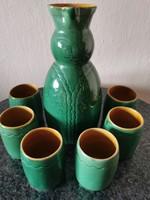 Retro zöld Miska kancsó hozzá tartozó 6 pohárral