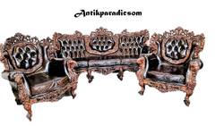 A201 Dúsan faragott barokk rokokó bőr chesterfield ülőgarnitúra