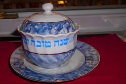 Judaika-Bavária  porcelán Héber felirattal cukortartó és tányér