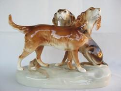 Royal Dux porcelán kutya pár nagy méretű