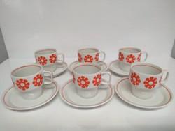 Retro Hollóházi napocskás porcelán kávés/mokkás készlet