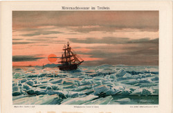 Éjféli fény a zajló jég felett, litográfia 1896, német nyelvű, eredeti, színes nyomat, hajó, óceán