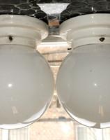 Bauhaus - Art deco mennyezeti/fali lámpa pár - lépcsőzetes porcelán /Gránit/ - tejüveg búra - EKA