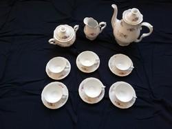 Cseh porcelán, virágos - aranyozott kávéskészlet