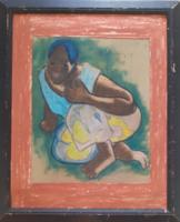 """PAUL GAUGUIN: Guggoló tahiti nő (portré, 18x22) emberalak tanulmány-másolat, """"Mikor házasodsz meg?"""""""