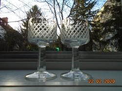 Antik kézzel csiszolt ,fazettált szárú talpas aperitif pohár 2 db